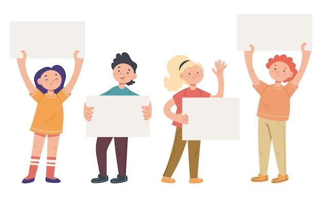 Dzieci dziecko chłopiec dziewczynka trzymając banery na białym tle zestaw wektor płaski kreskówka projekt graficzny ilustracja