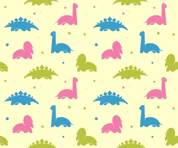 Dzieci dziecko tło z cute dinozaurów. wektor wzór.