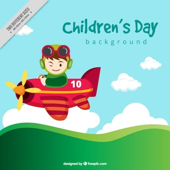 Dzieci dzień tła z małym samolotem