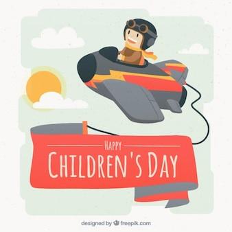 Dzieci dzień tła z niewielkim lotnik