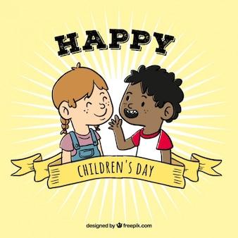 Dzieci dzień tła z przyjaciółmi rozmawiając