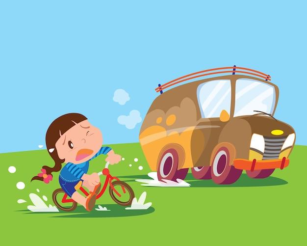 Dzieci dziewczynka jeździć rowerem spięty
