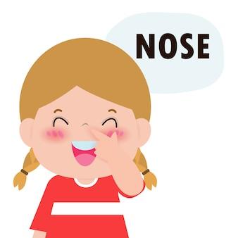 """Dzieci dziewczynka wskazując i mówiąc """"nos"""" jako część nazywania ciała lub twarzy części serii dla dzieci na białym tle ilustracji"""