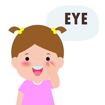 """Dzieci dziewczynka wskazując i mówiąc """"oko"""" jako część serii nazw ciała lub twarzy dla dzieci na białym tle ilustracji."""