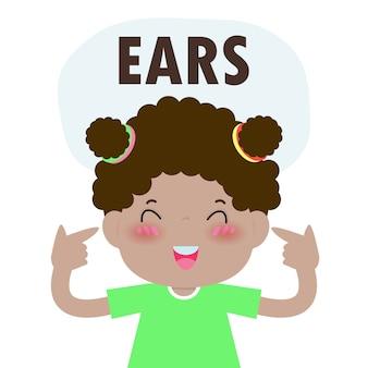 """Dzieci dziewczynka wskazując i mówiąc """"uszy"""" jako część serii nazw ciała lub twarzy dla dzieci na białym tle ilustracji"""