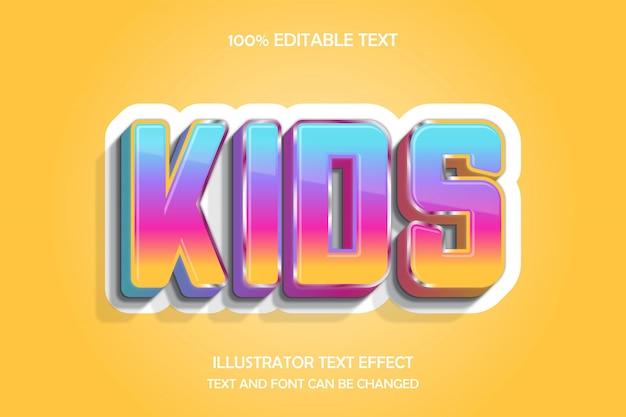 Dzieci, edytowalny tekst 3d efekt nowoczesnego stylu cienia