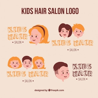 Dzieci fryzjerski logo collection