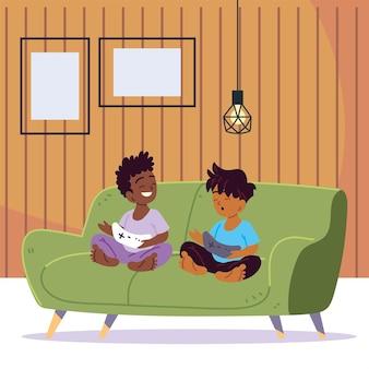 Dzieci grają razem w gry wideo