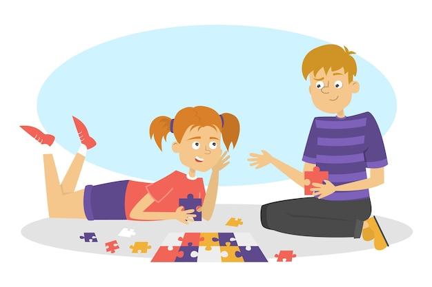 Dzieci grają w grę planszową. dwóch przyjaciół dobrze się bawi. dziewczyna i chłopak zbierają puzzle. ilustracja w stylu kreskówki