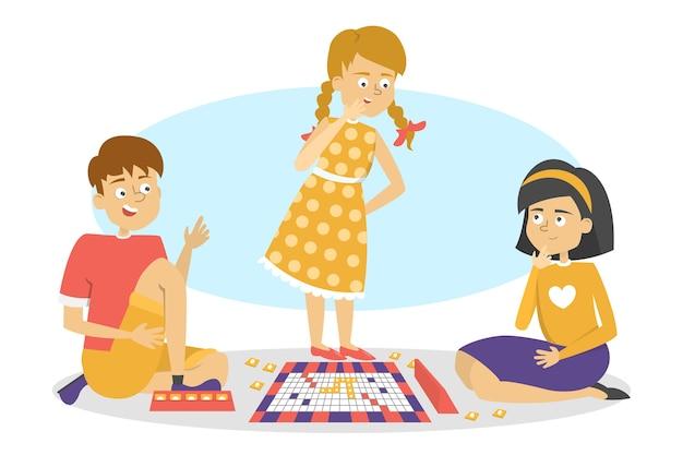 Dzieci grają w grę planszową. przyjaciele baw się dobrze. dziewczyny i chłopiec bawi się na podłodze. ilustracja w stylu kreskówki
