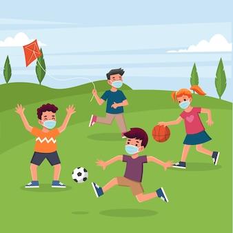 Dzieci gry i noszenie maski koncepcji