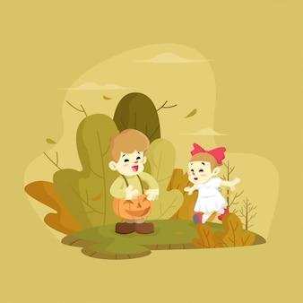 Dzieci gry ilustracja na zewnątrz