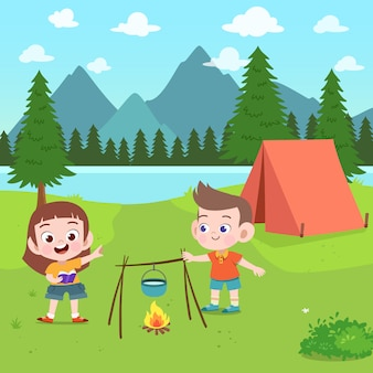 Dzieci harcerze przy obozową ilustracją
