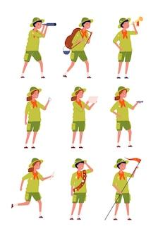 Dzieci harcerzy. charakterystyczne dla dzieci jednolite postacie kempingowe chłopców i dziewcząt postaci wektorowych. skauta jednolita kreskówka, ilustracja przygody szczęśliwych nastolatków