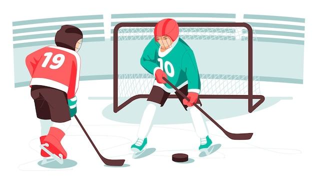 Dzieci hokeiści kije hokejowe krążki dla dzieci bramy sportowe i zajęcia