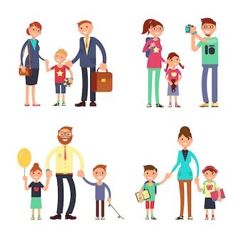 Dzieci i rodzice w szczęśliwej rodzinie. zestaw znaków płaskie wektor mama, tata i dzieci