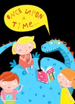 Dzieci i smok czytający książkę w nocy