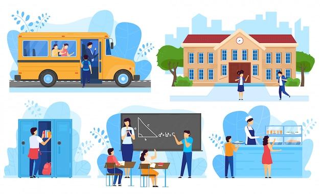 Dzieci iść szkoła, dzieciaki w sala lekcyjnej, ludzie wektor ilustraci