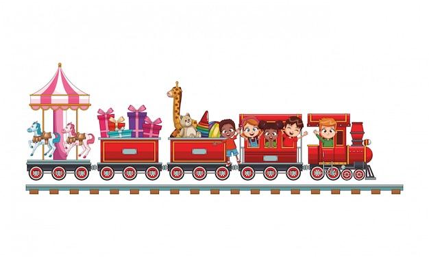 Dzieci jadą pociągiem