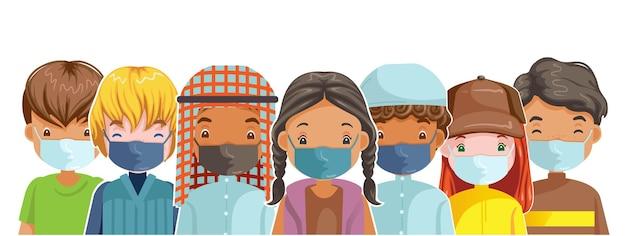 Dzieci jako rodzina zapobiegają zanieczyszczeniom i covid