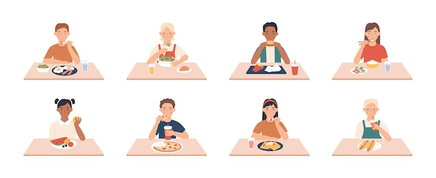 Dzieci jedzą. grupa chłopców, dziewcząt, jedzenie posiłków i napojów przy stole, ciesząc się śniadaniem, obiadem dzieci wektor znaków. ludzie siedzący na kolacji, śniadanie cieszące się fast foodem i innymi ilustracjami posiłków