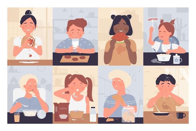 Dzieci jedzą zestaw ilustracji żywności