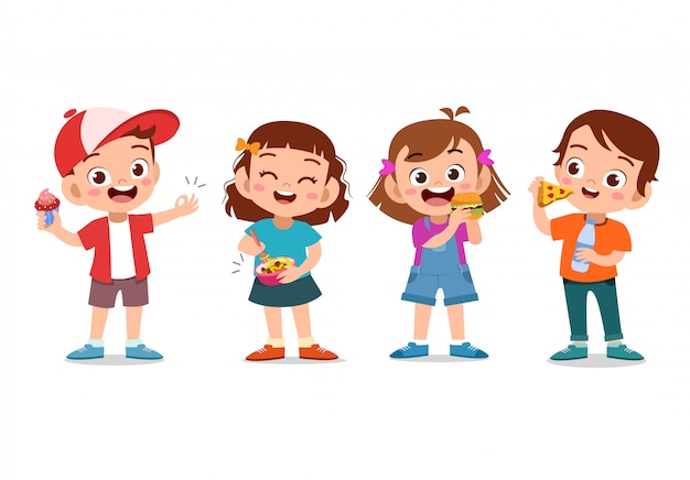 Dzieci jedzące fast foody