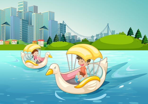 Dzieci jedzie na kaczki łodzi w jeziorze