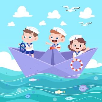 Dzieci jeżdżą łodzią z papieru