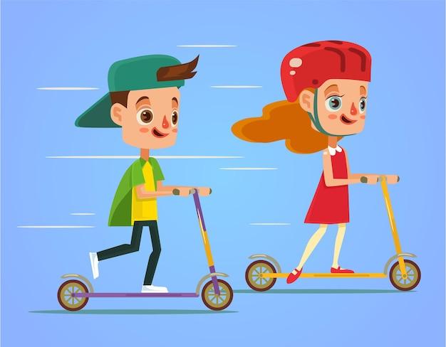 Dzieci jeżdżą na skuterze płaska ilustracja kreskówka