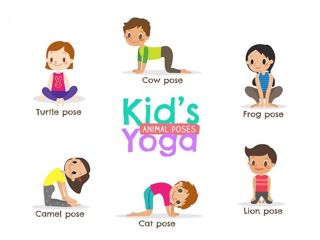 Dzieci jogi pozuje ilustracji wektorowych