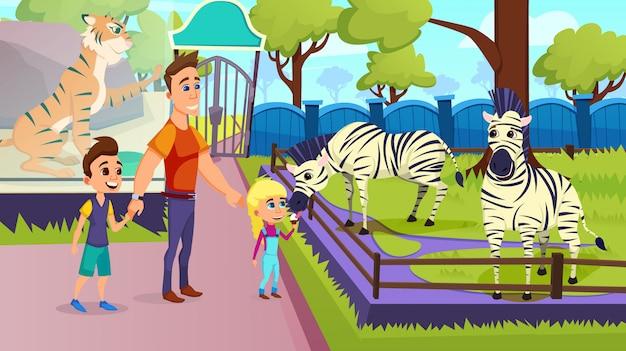 Dzieci karmiące zebry lodami w zoo.