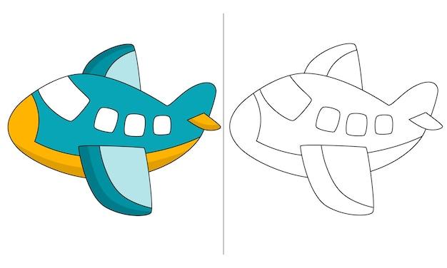 Dzieci kolorowanka ilustracja zielony samolot komercyjny