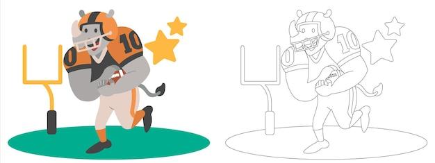 Dzieci kolorują ilustrację strony z nosorożcem grającym w futbol amerykański na boisku