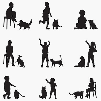 Dzieci koty sylwetki