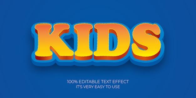Dzieci kreskówki 3d teksta stylu szablonu efekt