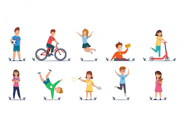 Dzieci kreskówki wektorowa ilustracja w przypadkowych ubraniach śmieszni dzieciaki bawić się outside.