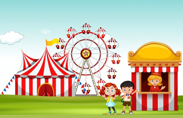 Dzieci kupujące bilet w parku rozrywki