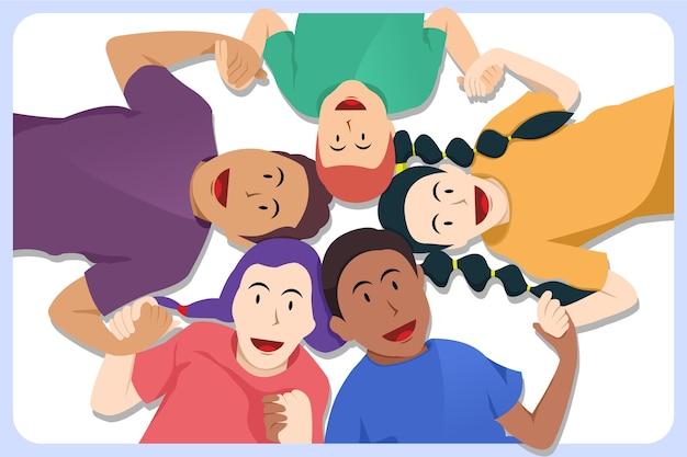 Dzieci lubią być razem niezależnie od płaskiej ilustracji w kolorze skóry