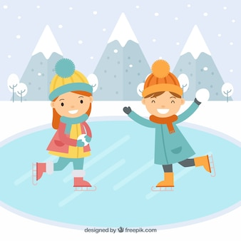 Dzieci łyżwy płaskie tło