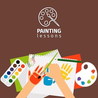 Dzieci malowanie lekcji wektorowych ilustracji