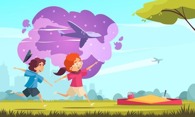 Dzieci marzące kompozycję pilota z sylwetką pejzażu miejskiego na zewnątrz i biegnącymi chłopcami z samolotami