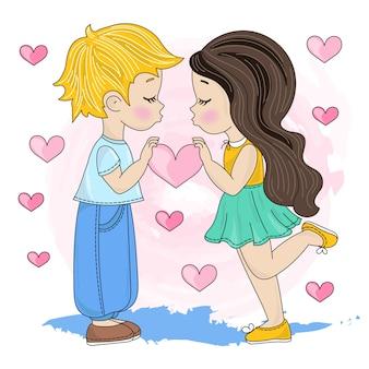 Dzieci miłość walentynki ilustracji