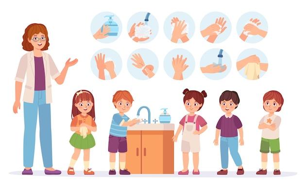 Dzieci mycie rąk. dzieci kreskówki w szkole używają mydła do skóry w łazience. zapobiegaj koncepcji wirusów i infekcji. infografika wektor higieny. chłopcy i dziewczęta w kolejce z nauczycielem, opieka zdrowotna