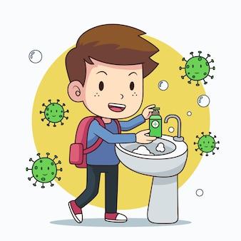 Dzieci myją ręce w szkole