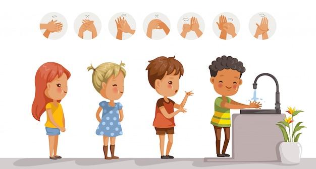 Dzieci myją ręce