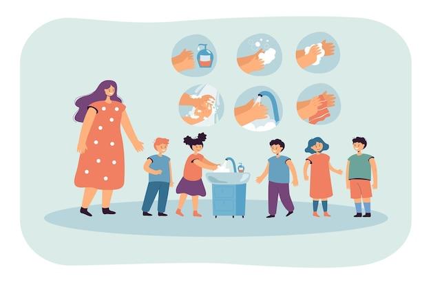 Dzieci myjące ręce płaskie ilustracja