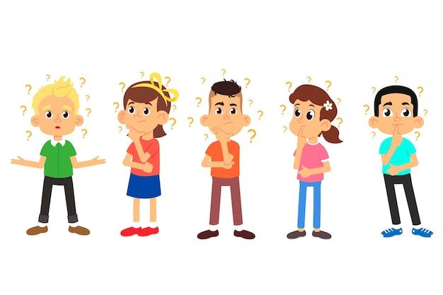 Dzieci myślą. uroczych chłopców i dziewcząt zadających pytania.