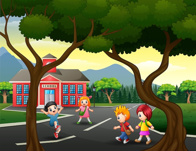 Dzieci na drodze ilustracja