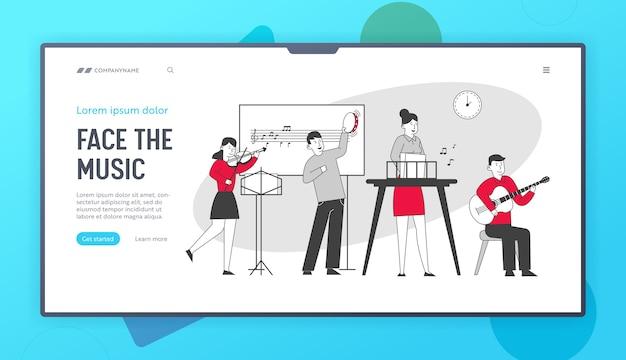 Dzieci na lekcji w szkole muzycznej strona docelowa witryny internetowej